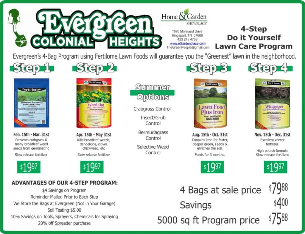 evergreen lawncare program home and garden